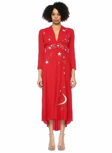 Rixo V Yaka Yaldızlı Nakışlı Midi Elbise Kırmızı
